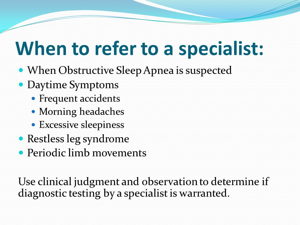 When to refer to a specialist: