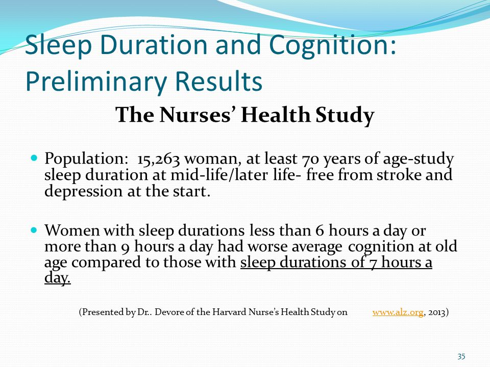Sleep Duration and Cognition: Preliminary Results