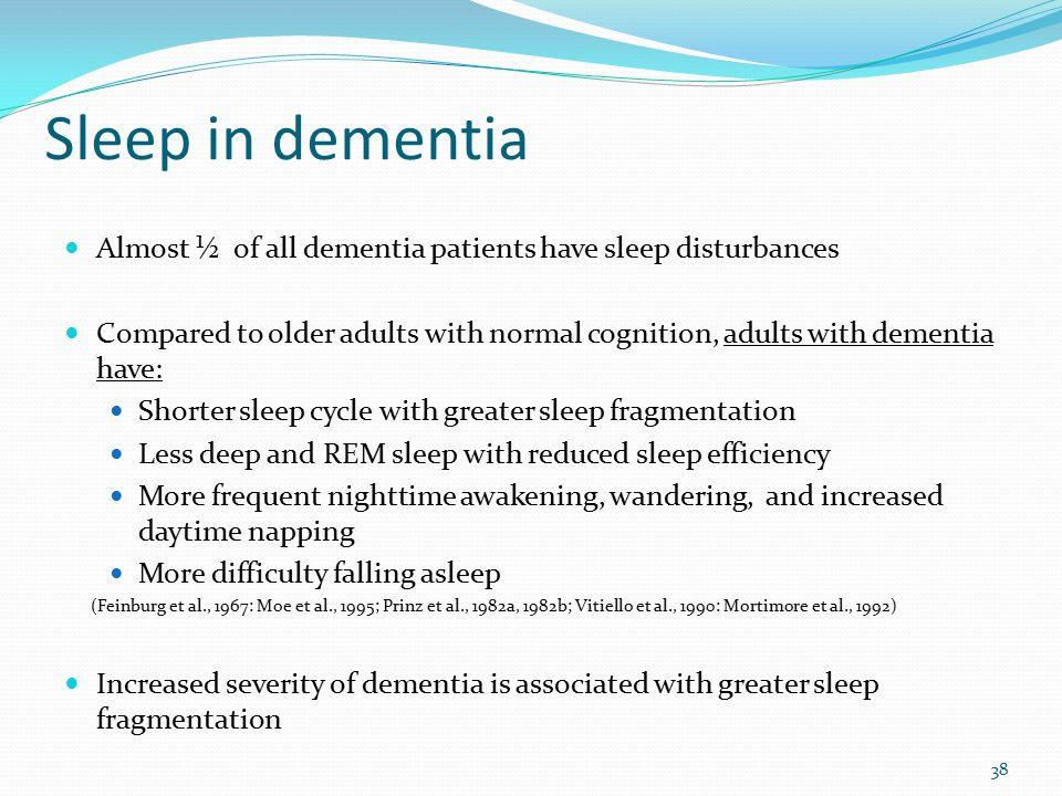 An introduction to sleep disturbances and the causes for it dementia