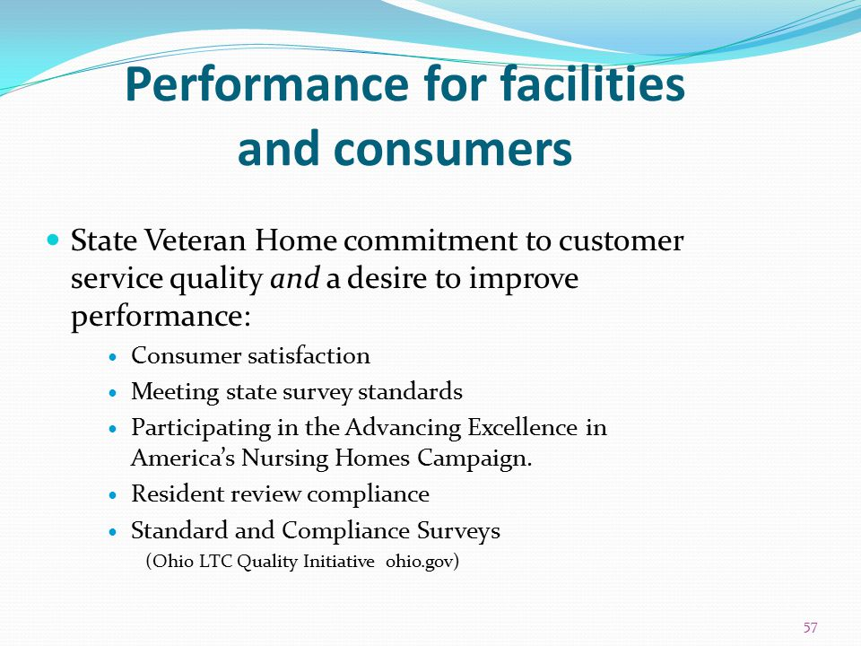 Performance for facilities and consumers