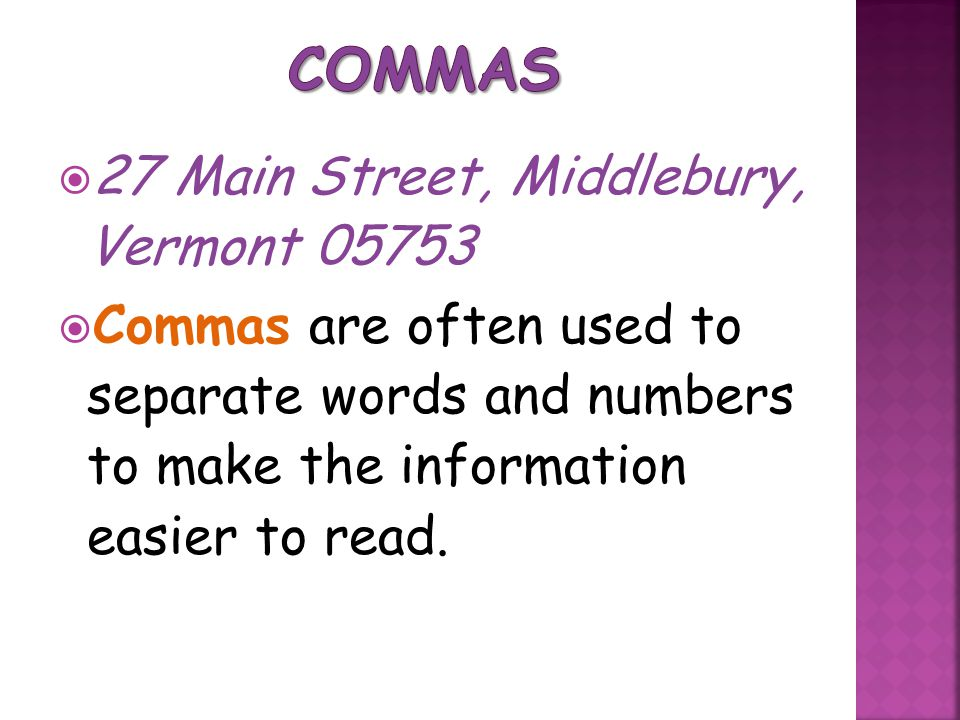 Commas 27 Main Street, Middlebury, Vermont 05753