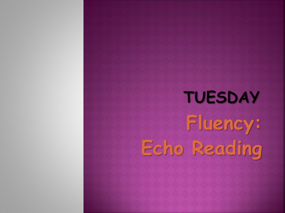 Tuesday Fluency: Echo Reading