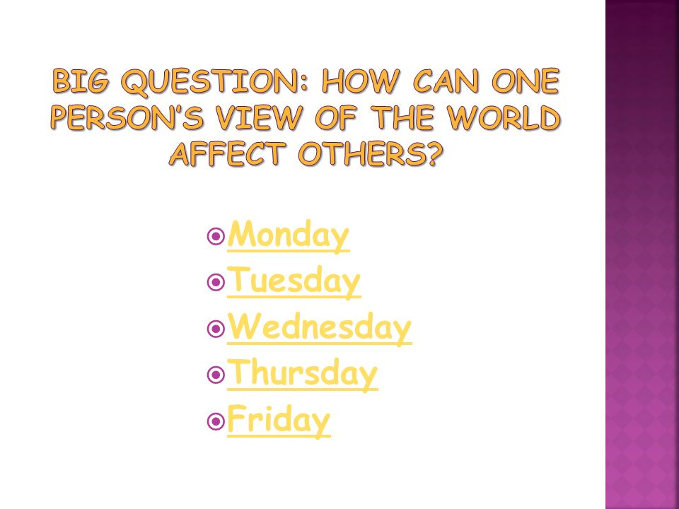 Big Question: How can one person's view of the world affect others