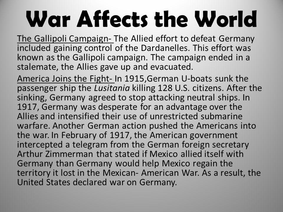 War Affects the World