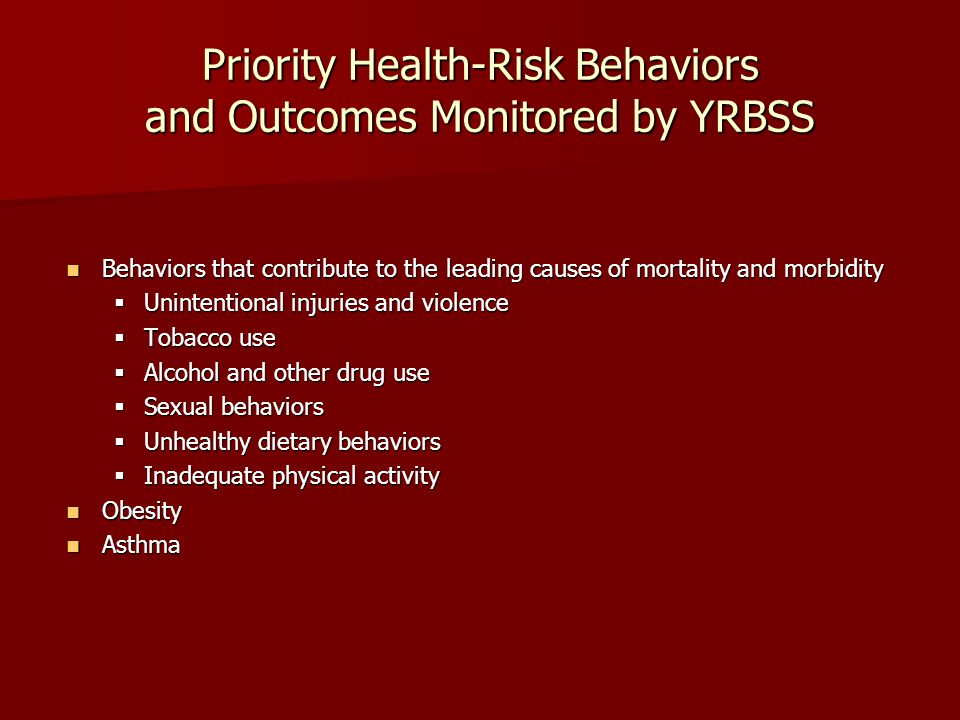 Priority Health-Risk Behaviors and Outcomes Monitored by YRBSS