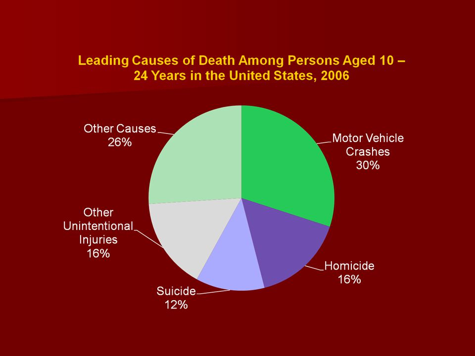 This pie graph represents the leading causes of death among persons aged 10-24 years in the United States in 2006.