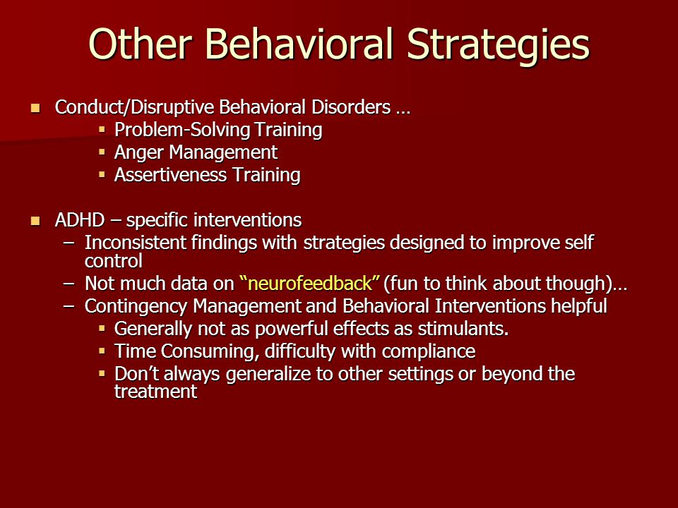 Other Behavioral Strategies