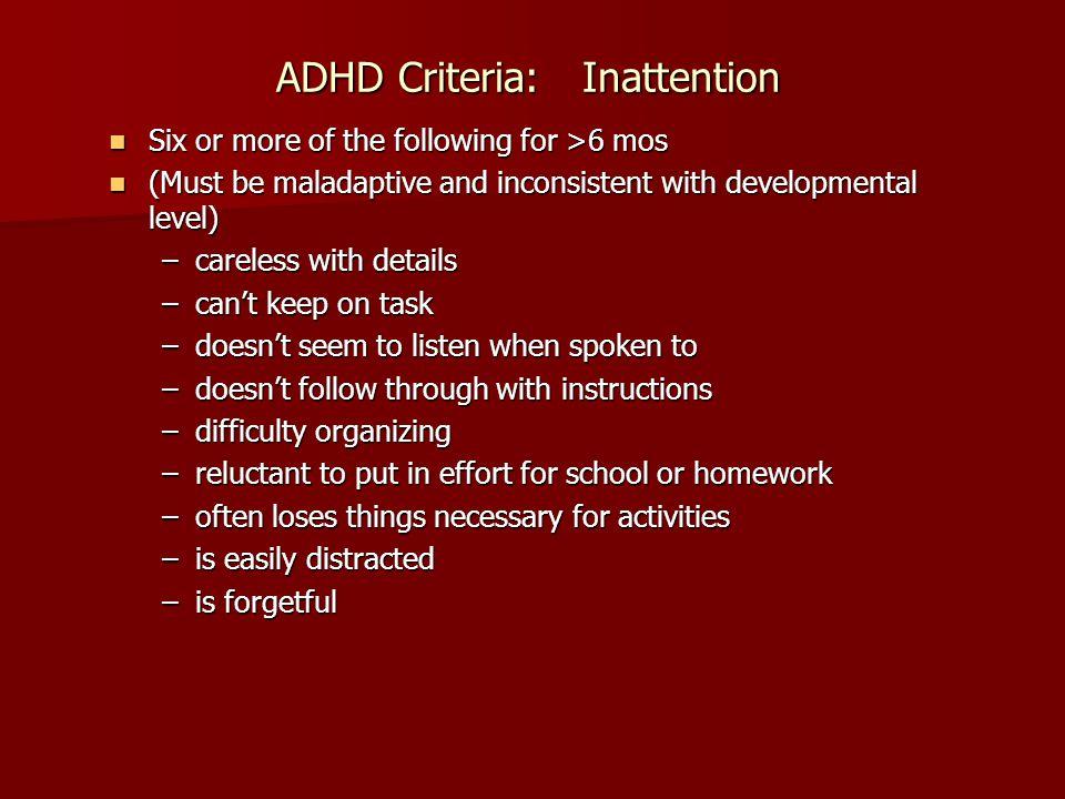 ADHD Criteria: Inattention