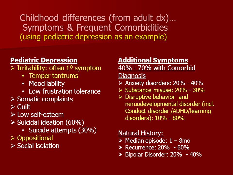 Childhood differences (from adult dx)…