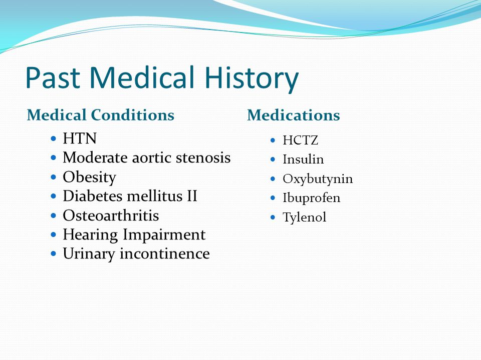 Past Medical History Medical Conditions Medications HTN