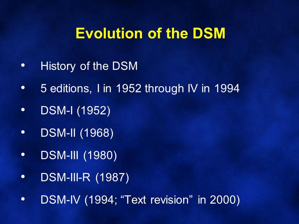 Evolution of the DSM History of the DSM