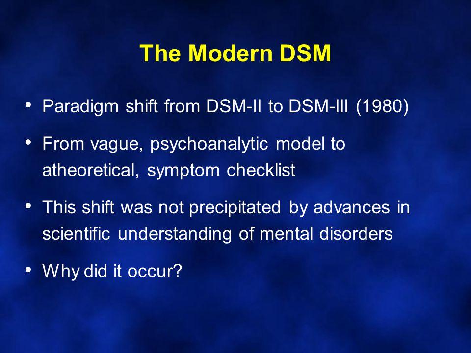 The Modern DSM Paradigm shift from DSM-II to DSM-III (1980)
