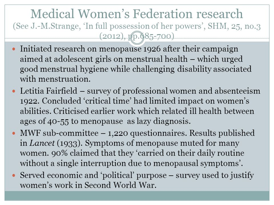 Medical Women's Federation research (See J. -M