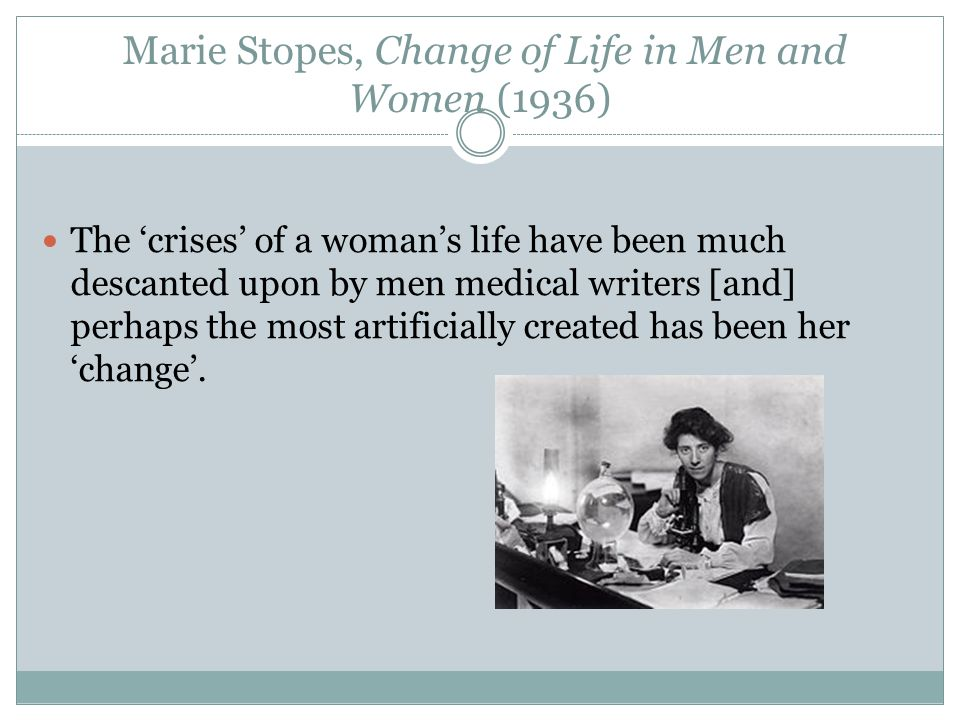 Marie Stopes, Change of Life in Men and Women (1936)