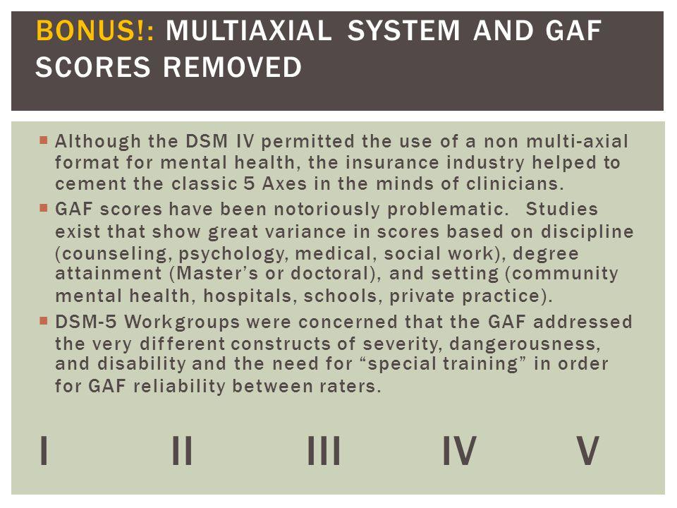 I II III IV V BONUS!: MULTIAXIAL SYSTEM AND GAF SCORES REMOVED