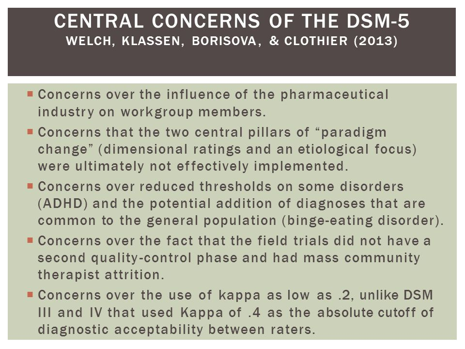 CENTRAL CONCERNS OF THE DSM-5