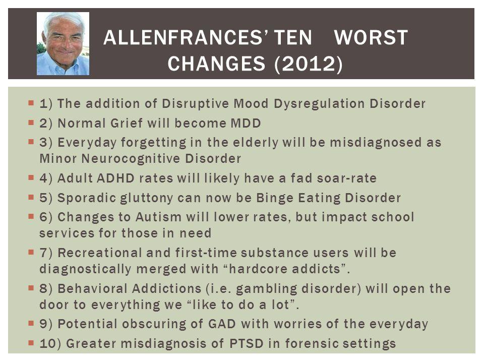 ALLEN FRANCES' TEN WORST CHANGES (2012)
