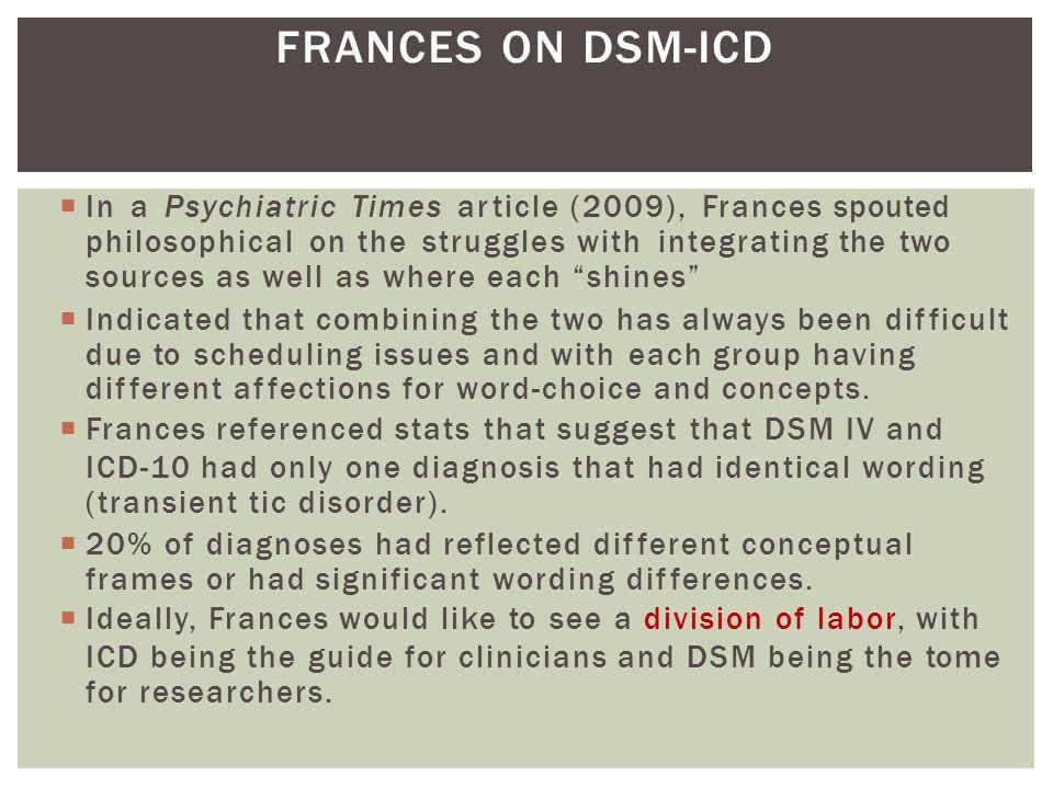 FRANCES ON DSM-ICD