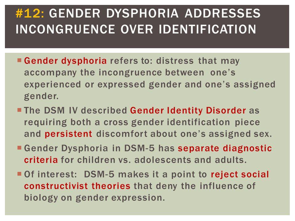 #12: GENDER DYSPHORIA ADDRESSES INCONGRUENCE OVER IDENTIFICATION