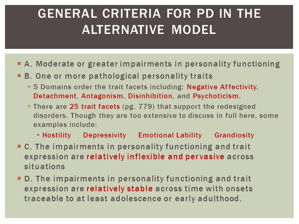 GENERAL CRITERIA FOR PD IN THE ALTERNATIVE MODEL