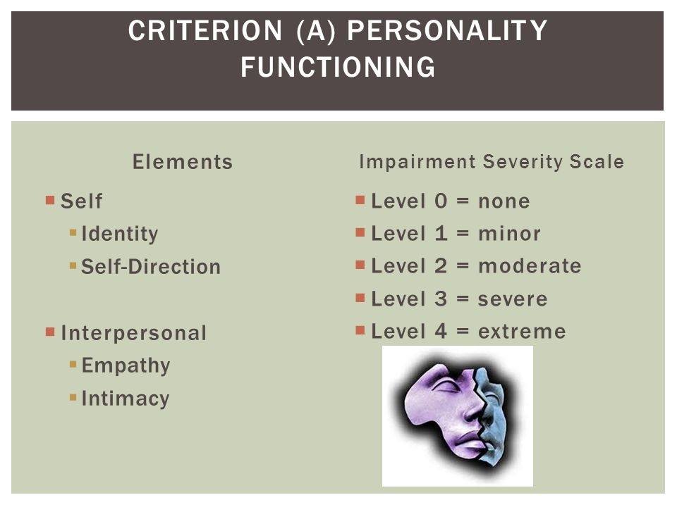 CRITERION (A) PERSONALITY FUNCTIONING