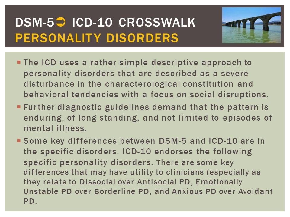 DSM-5 ICD-10 CROSSWALK PERSONALITY DISORDERS