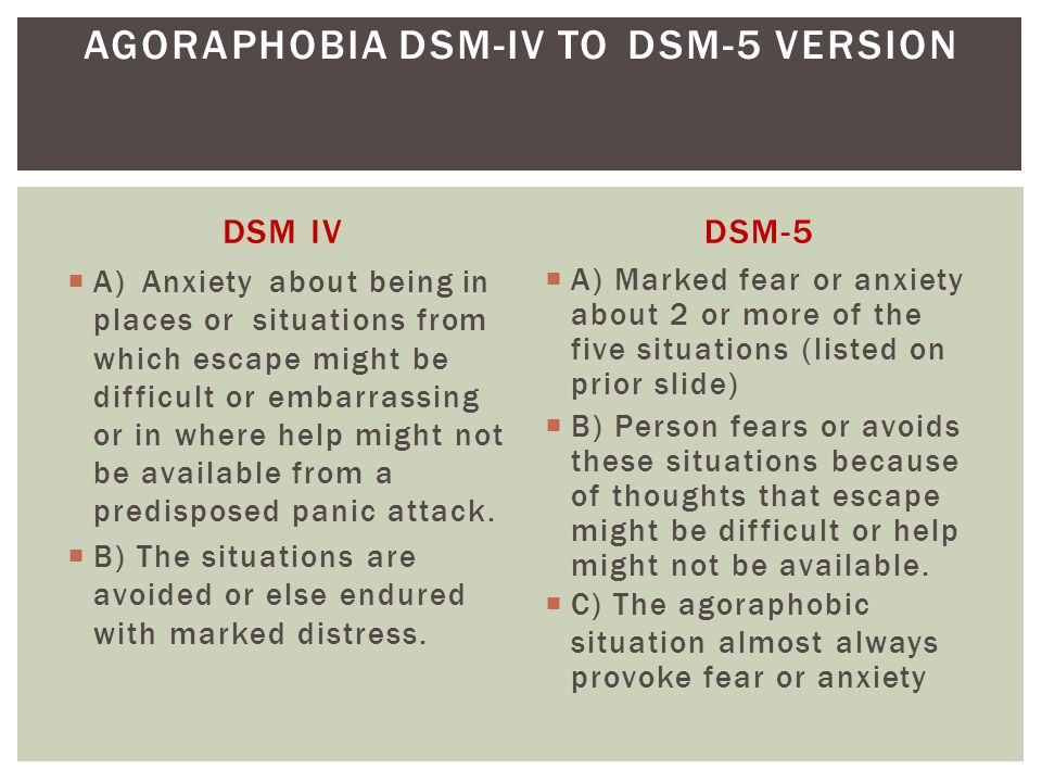 AGORAPHOBIA DSM-IV TO DSM-5 VERSION
