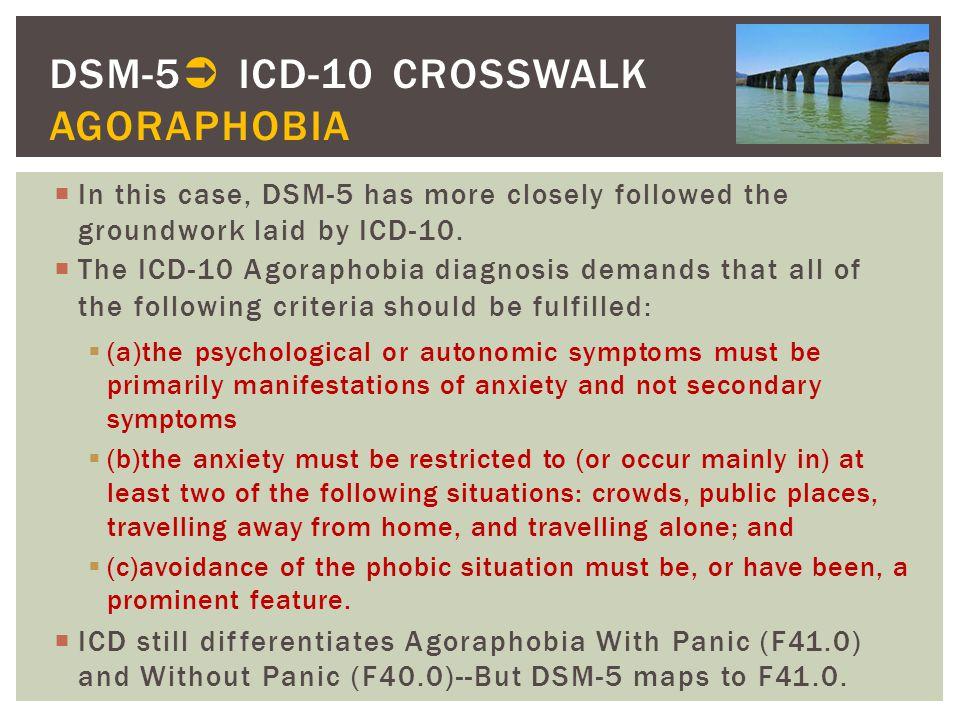 DSM-5 ICD-10 CROSSWALK AGORAPHOBIA