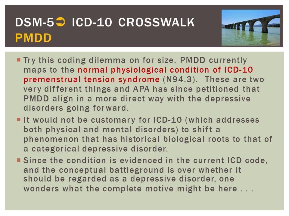 DSM-5 ICD-10 CROSSWALK PMDD