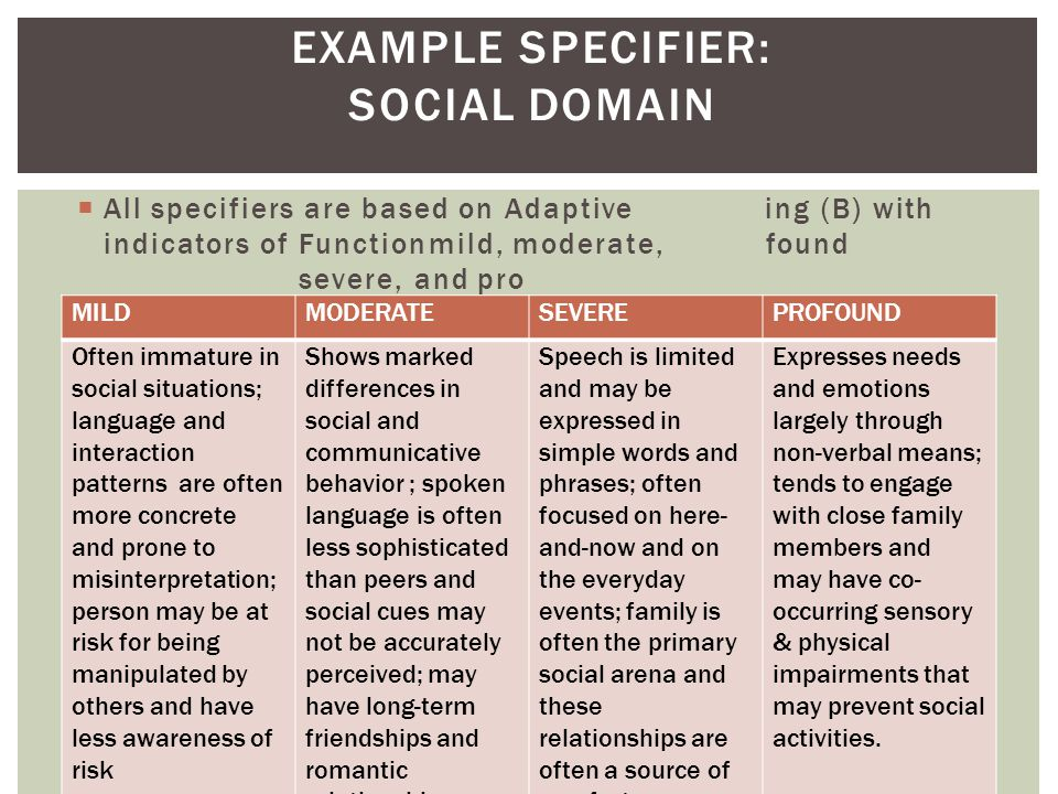 EXAMPLE SPECIFIER: SOCIAL DOMAIN