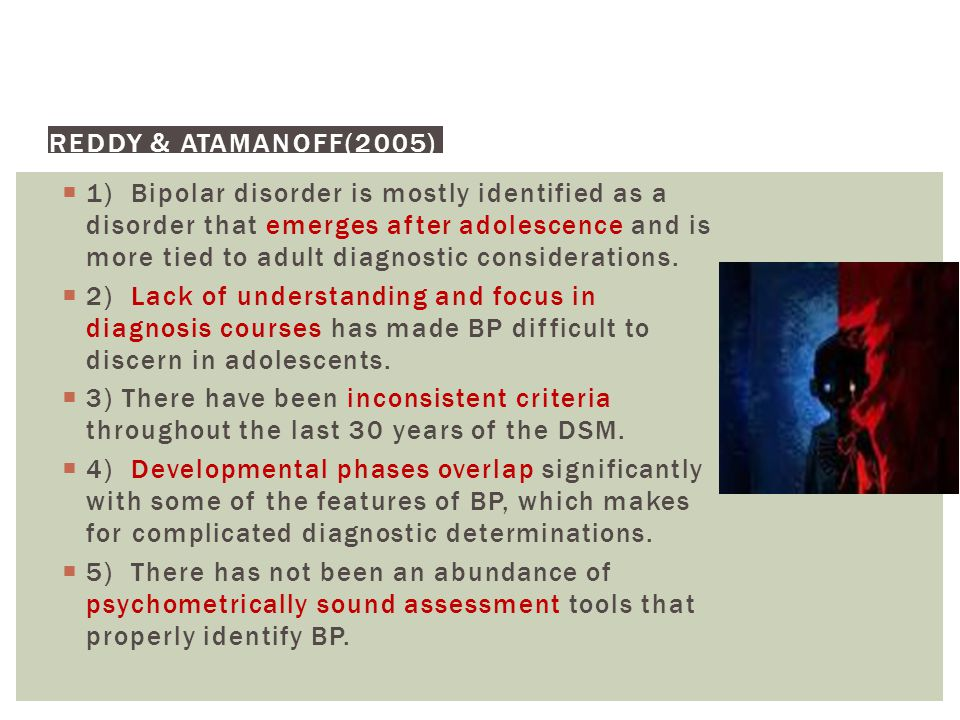 PROBLEMS WITH BIPOLAR DIAGNOSIS IN CHILDREN & ADOLESCENTS
