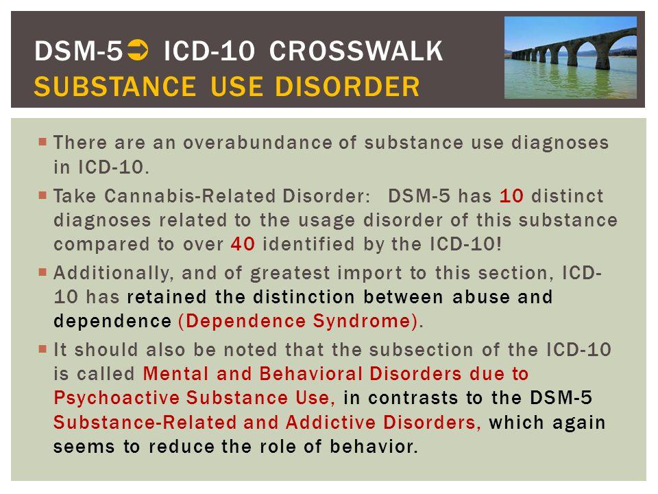 DSM-5 ICD-10 CROSSWALK SUBSTANCE USE DISORDER