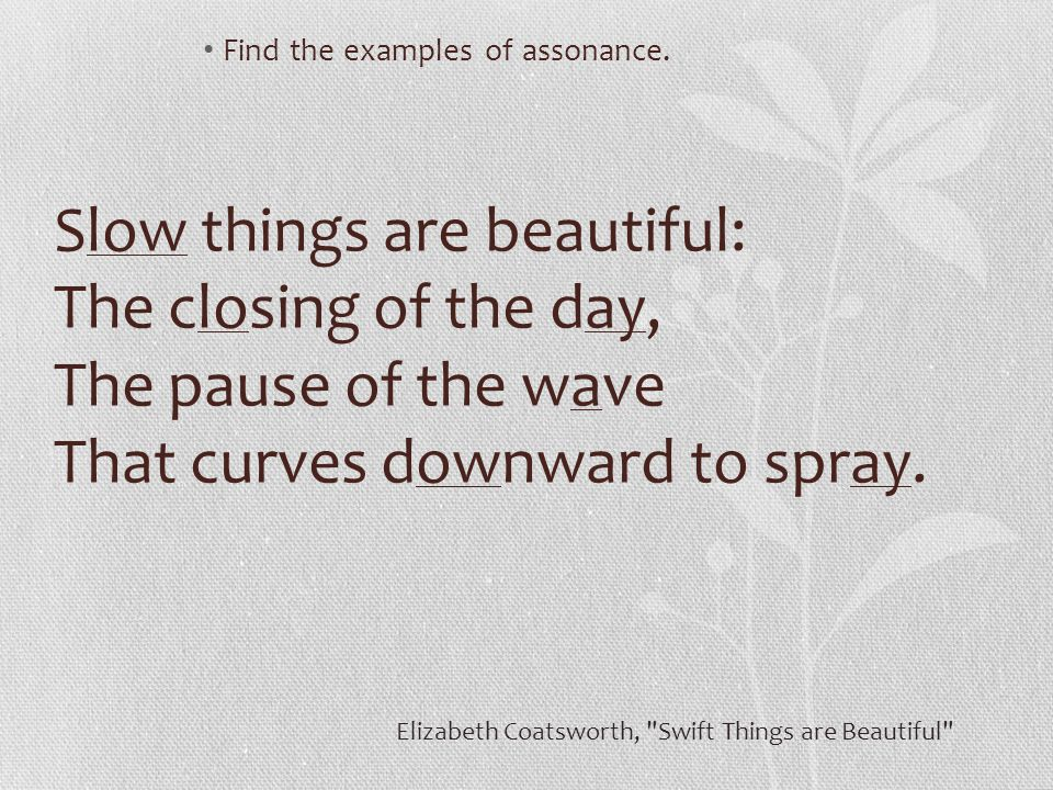 Find the examples of assonance.