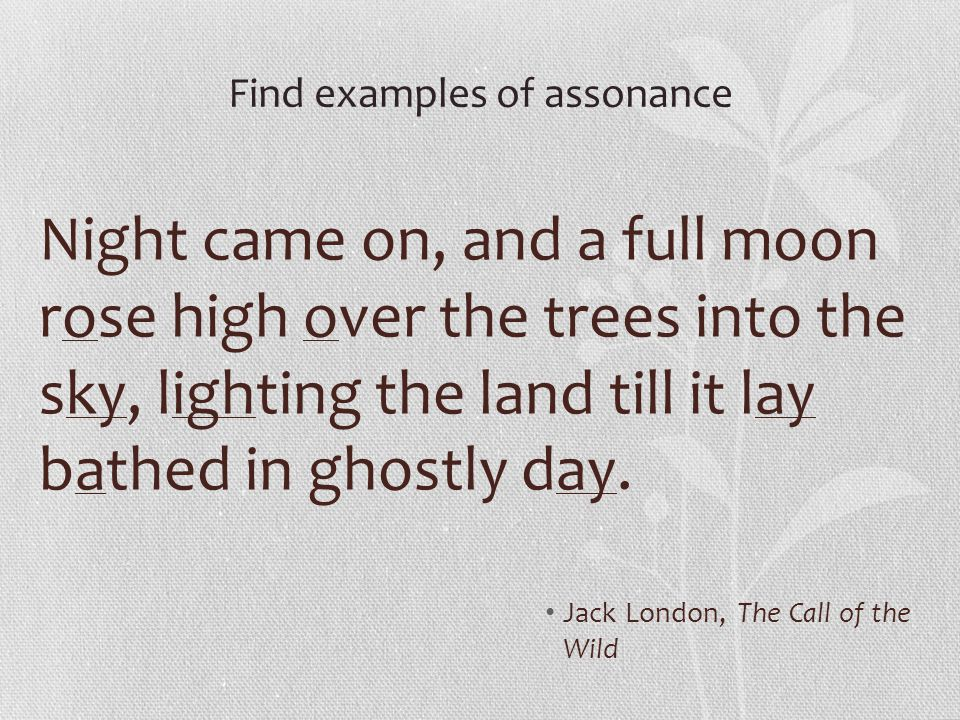 Find examples of assonance