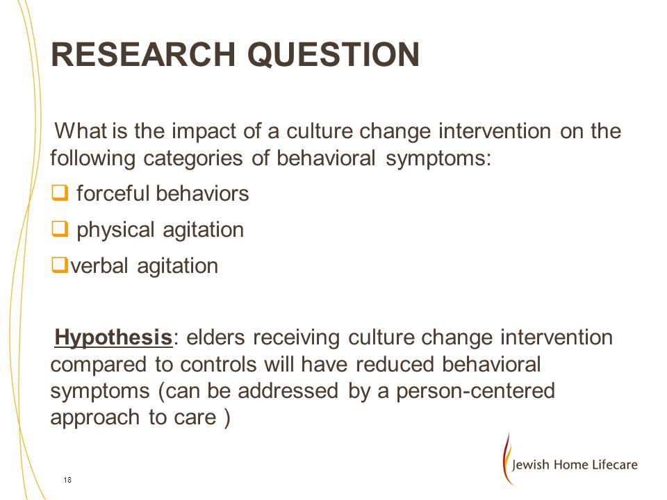 RESEARCH QUESTION What is the impact of a culture change intervention on the following categories of behavioral symptoms: