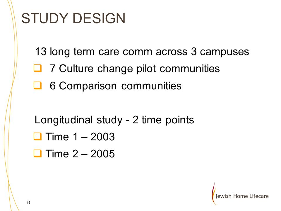 STUDY DESIGN 13 long term care comm across 3 campuses