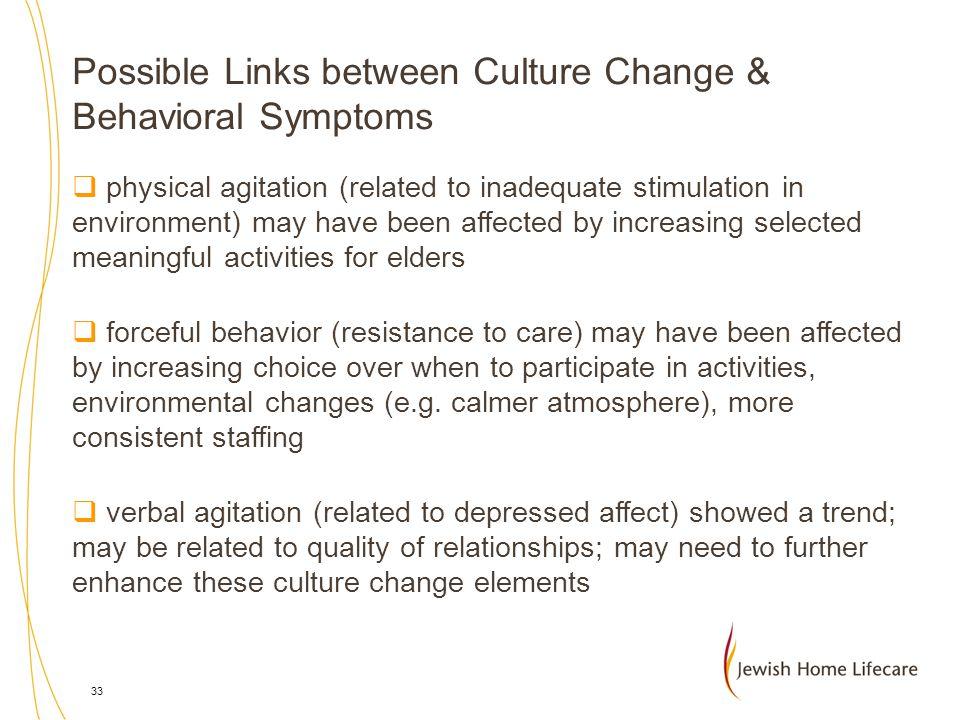 Possible Links between Culture Change & Behavioral Symptoms