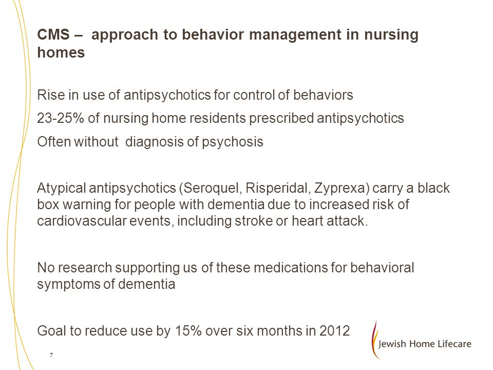 CMS – approach to behavior management in nursing homes