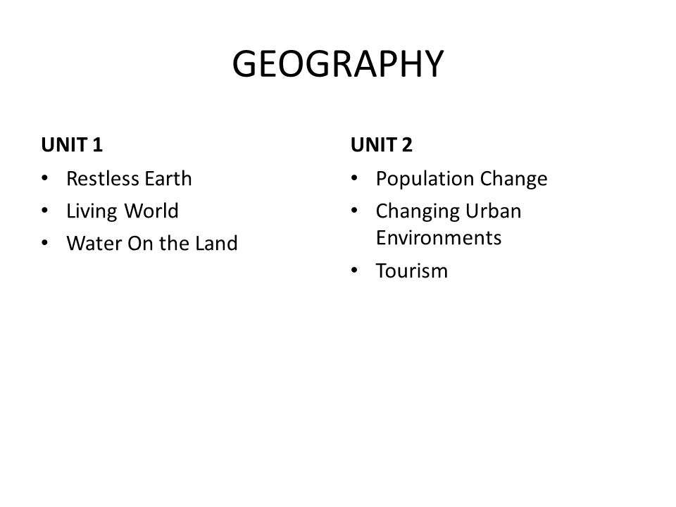 GEOGRAPHY UNIT 1 UNIT 2 Restless Earth Living World Water On the Land