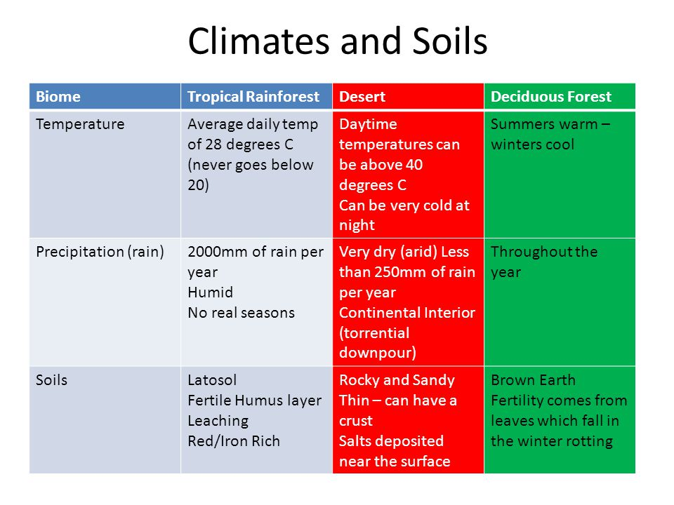 Climates and Soils Biome Tropical Rainforest Desert Deciduous Forest
