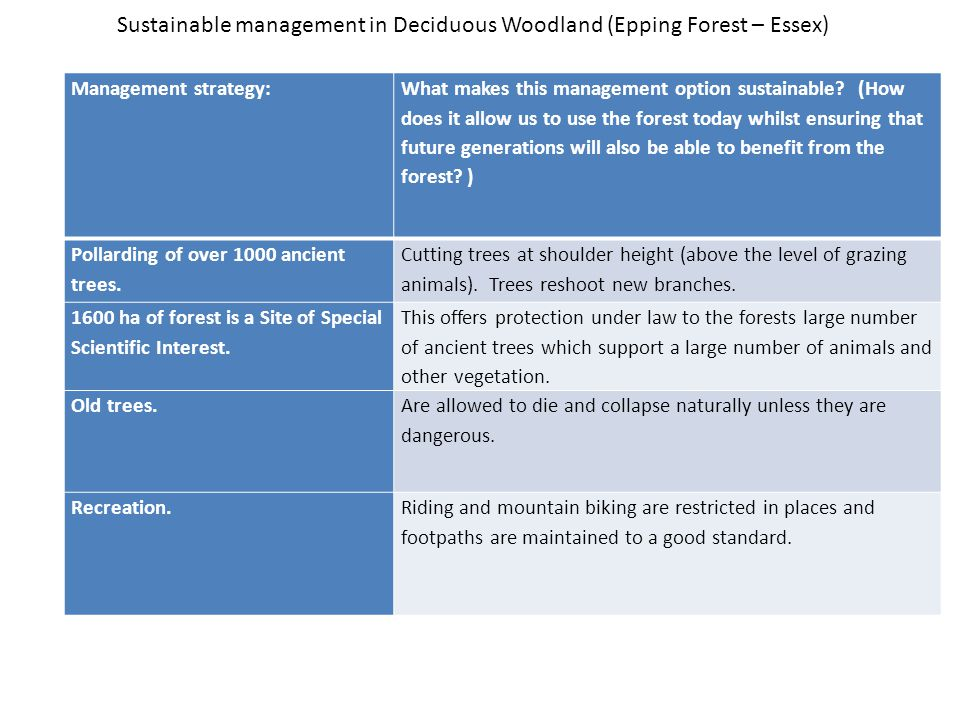 Sustainable management in Deciduous Woodland (Epping Forest – Essex)