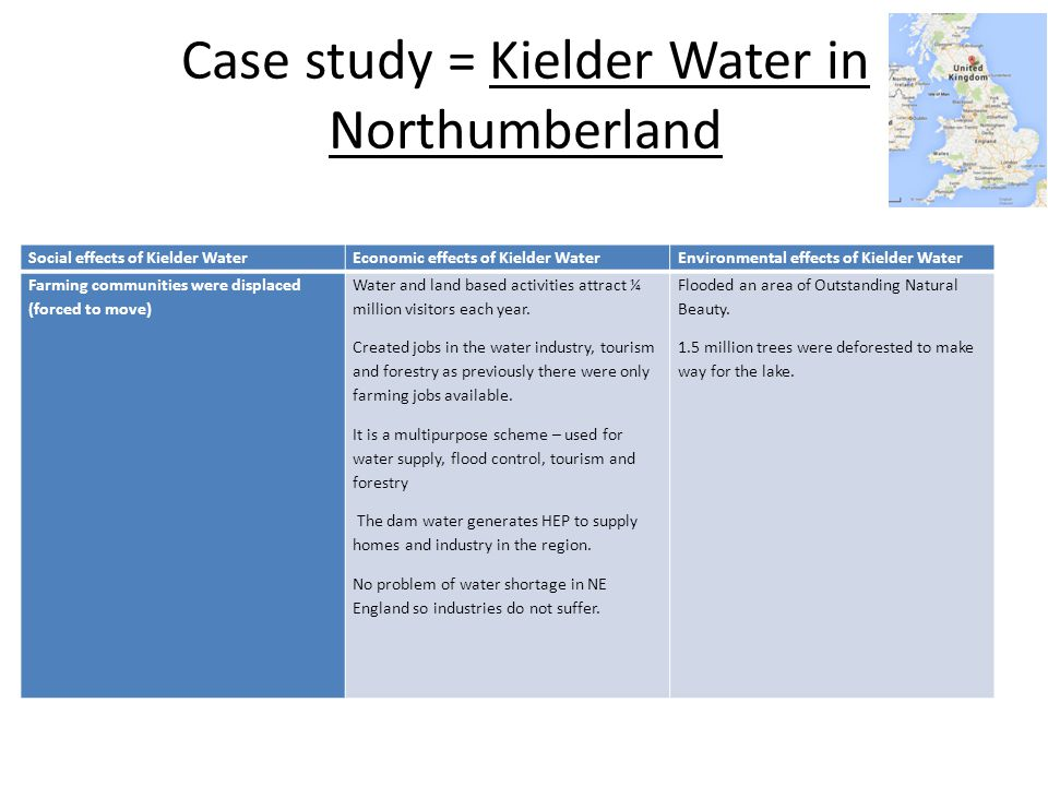 Case study = Kielder Water in Northumberland