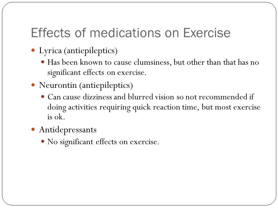 Effects of medications on Exercise