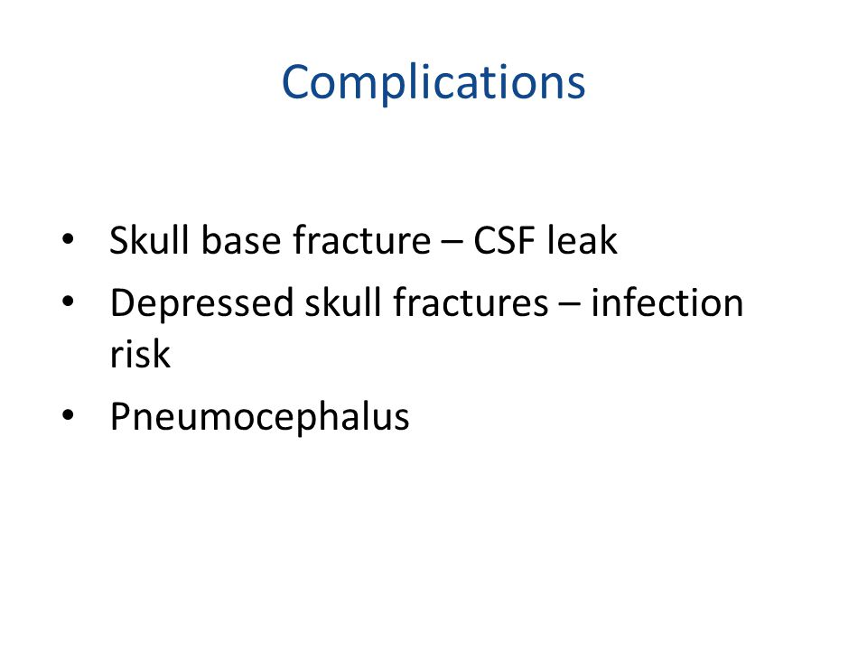 Complications Skull base fracture – CSF leak