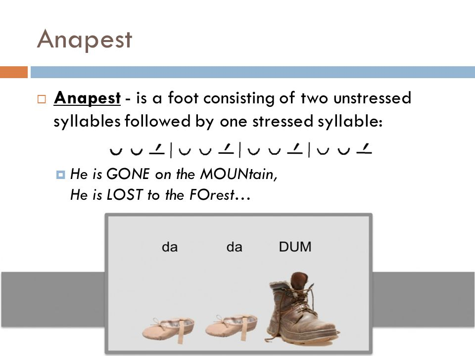 Anapest Anapest - is a foot consisting of two unstressed syllables followed by one stressed syllable: