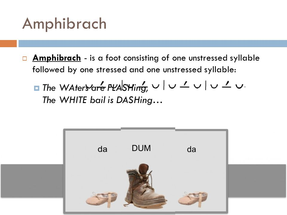 Amphibrach The WAters are FLASHing, The WHITE bail is DASHing…