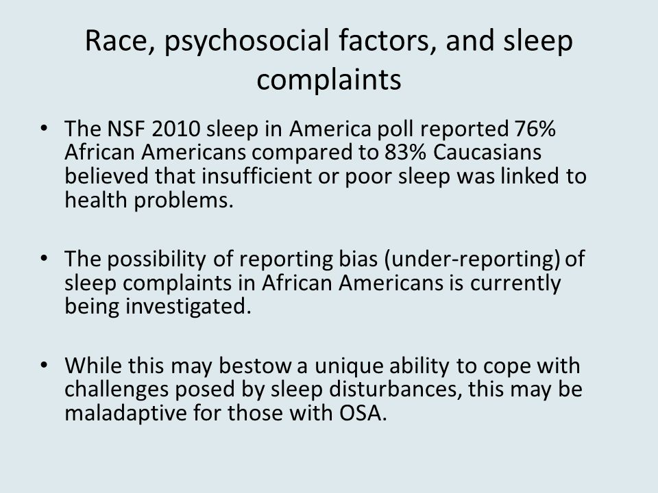 Race, psychosocial factors, and sleep complaints