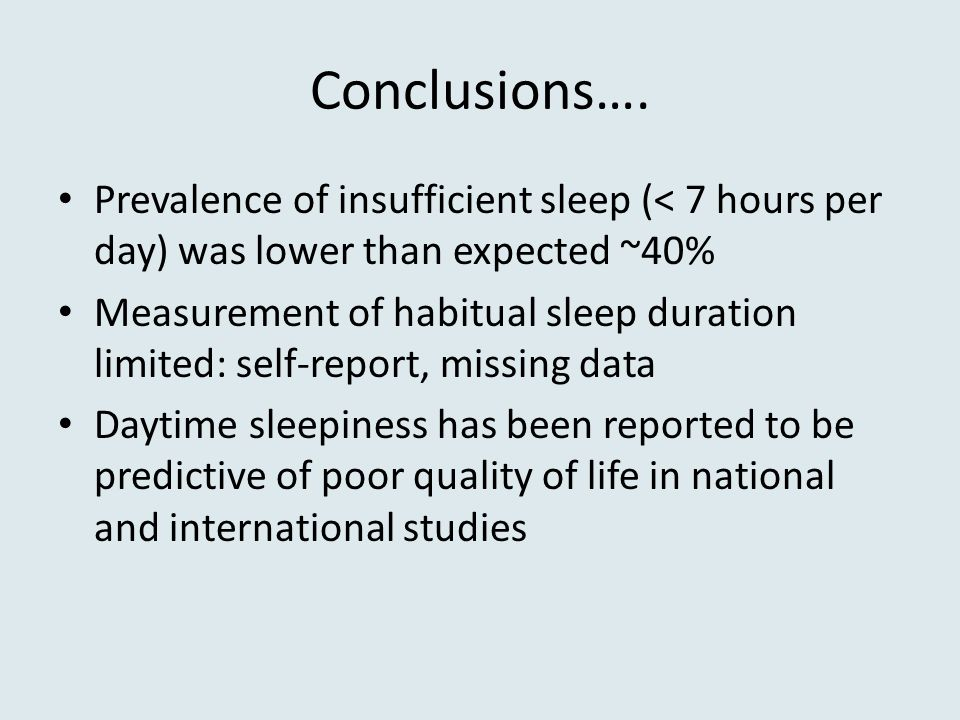 Conclusions…. Prevalence of insufficient sleep (< 7 hours per day) was lower than expected ~40%