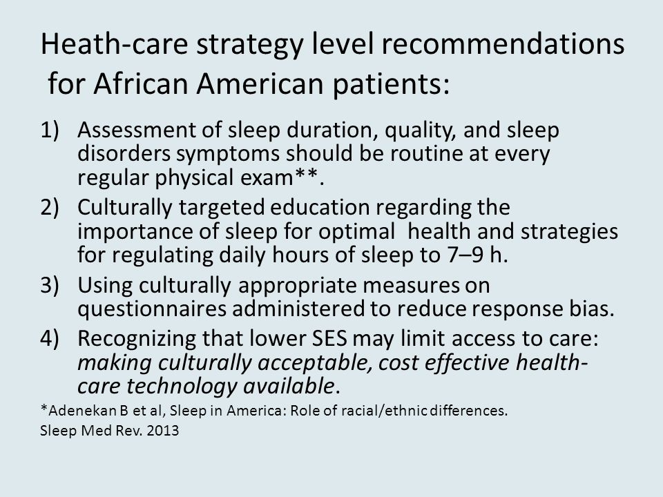 Heath-care strategy level recommendations for African American patients: