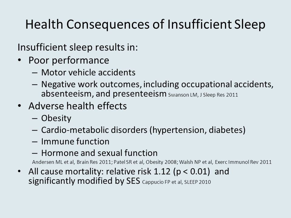 Health Consequences of Insufficient Sleep